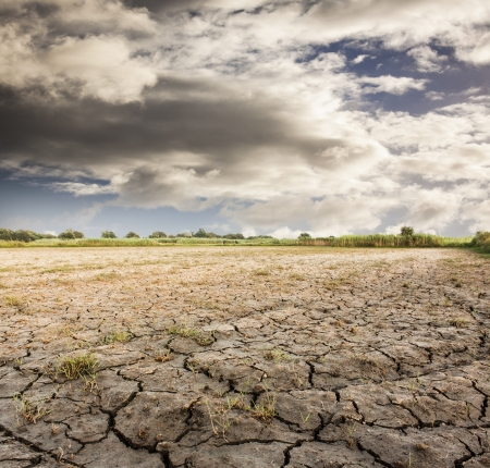 erosion: Cracked land with cloudy sky Stock Photo