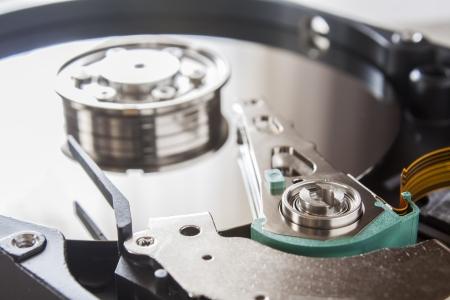 harddisk: Close up of opened hard disk drive Stock Photo