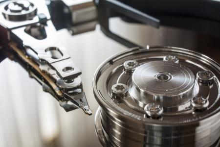 megabyte: Close up of opened hard disk drive Stock Photo