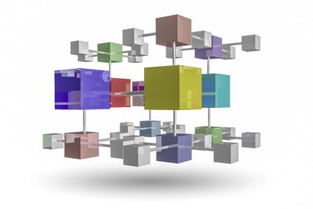 interlocking: interlocking cubes on white background