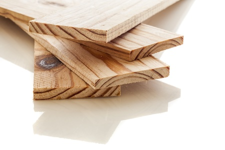wood craft: Wood planks on a white background Stock Photo
