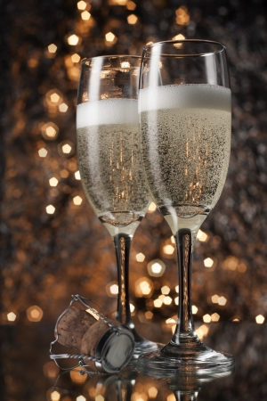 festive occasions: Flutes of champagne in holiday
