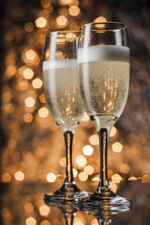 Flutes of champagne in holiday