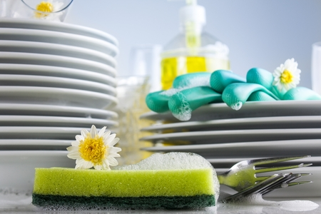 Washing glasses and plates with detergent and fresh flowers Stockfoto