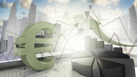 economical: Euro sign,economical stock market concept-3d render