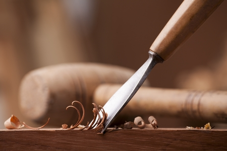 gouge: closeup gouge for wood on carpenter workbench
