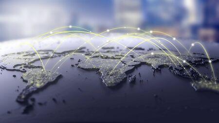 Líneas de conexión alrededor del mapa, Fondo de tema de tecnología futurista con efecto de luz.Fondo de conectividad internacional global.Ilustración 3D Foto de archivo