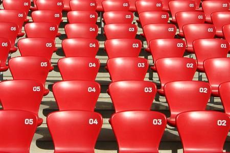 トリビューンの座席フットボール - オリンピックの atletic スタジアムに詳細なビュー 写真素材