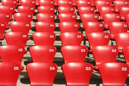 tribune: Detailed view on tribune seats in a football - sports competition atletic stadium