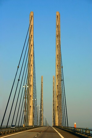The Oresund Bridge connects Sweden and Denmark and is a combined twin-track railroad and four-lane highway bridge-tunnel across the Oresund strait. Stock Photo - 8017078