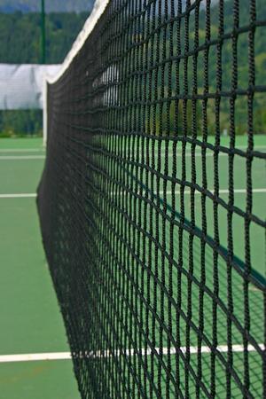 racquet: Yellow-red balls on a green tennis court