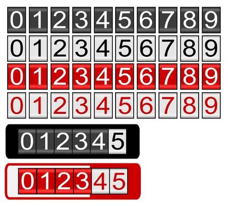 黒、白と赤の数字と走行距離計