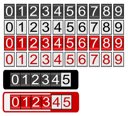 Odometer with black, white and red numbers