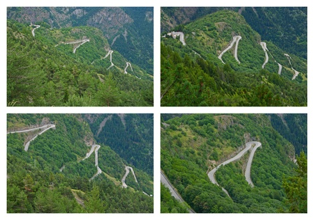 The famous hairpin curves of Alpe d'Huez - Tour de France Stock Photo - 8404417