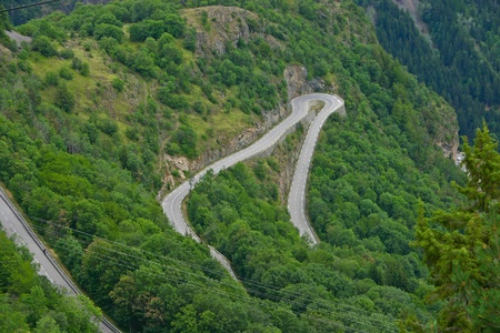 The famous hairpin curves of Alpe dHuez - Tour de France Imagens