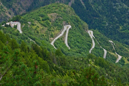 hairpin: The famous hairpin curves of Alpe dHuez - Tour de France Stock Photo
