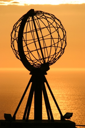 The Famous North Cape in Norway at midnight (nordkapp) photo