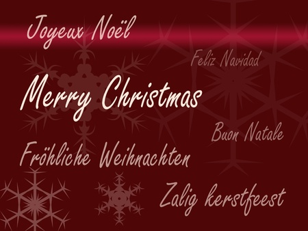 Merry Christmas card in different languages Imagens