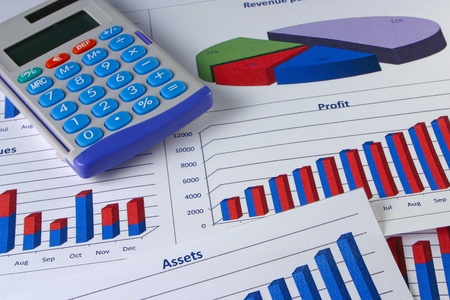 Financial management charts with a calculator