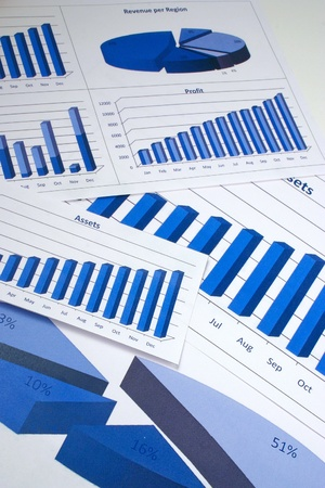 Financial management charts in a corporate blue color photo
