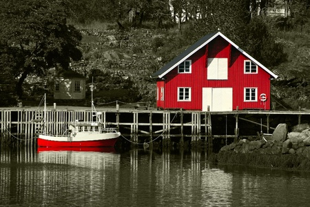 rorbu: Rorbu, Typical House and boat at the Lofoten in Norway Stock Photo