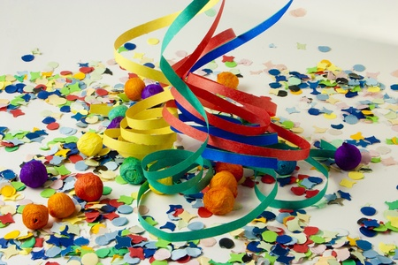 Small paper balls and Streamers and confetti to party on carnival  photo