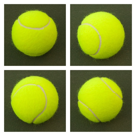 New yellow tennis balls on a green court photo