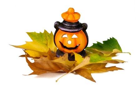 Happy Halloween pumpkin lantern with scary face photo
