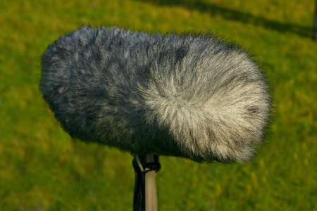A large boom microphone on a grass background