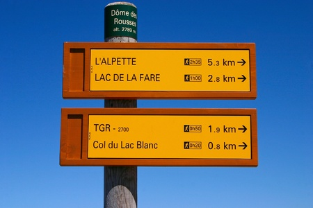 Signpost of hiking trails in the French Alps Stock Photo - 11530069