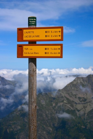 Signpost of hiking trails in the French Alps photo
