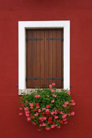 Window of one of the colored houses in Burano - Venice - Italy Stock Photo - 12760572