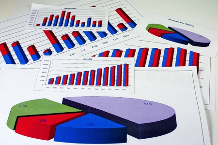 Financial management charts in vivid colors Imagens