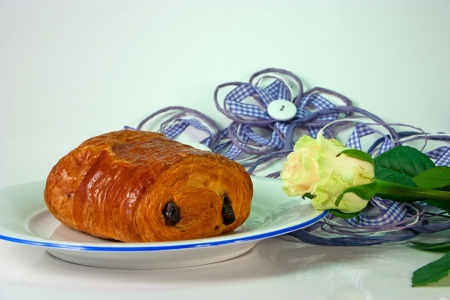 Delicious and typical french pain au chocolat  photo