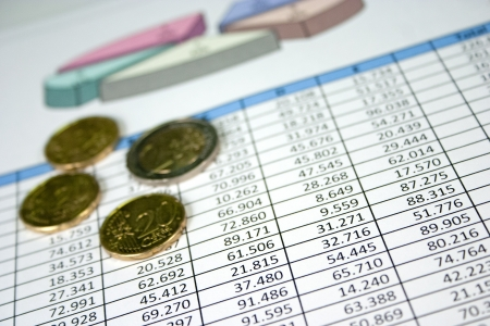 Financial management charts with some euro coins photo