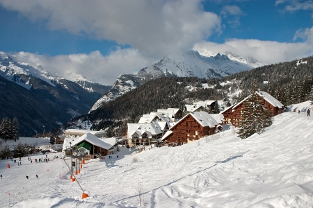 View on the Oz en Oisans Station in the French Alps photo