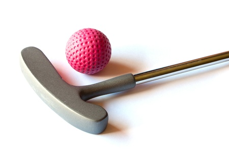 miniature people: Mini Golf Stick with colored balls on an isolated background Stock Photo