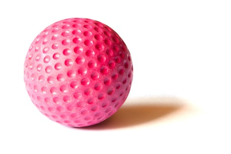 putt: Red colored Mini Golf ball on an isolated background