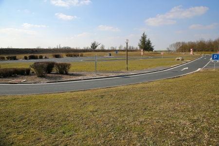 An empty rest area, parking lot (autoroute aire de repos) along the French highway photo