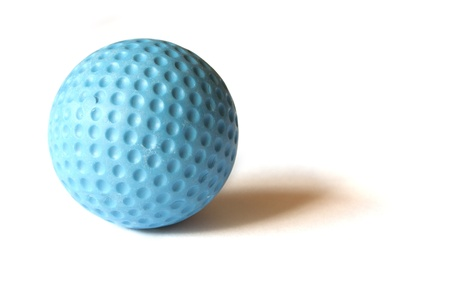 putt: Blue colored Mini Golf ball on an isolated background