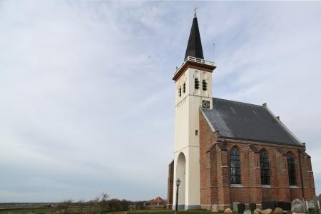 hoorn: The typical white church of Den Hoorn in Texel