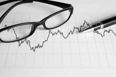 黒と白の色で財務管理グラフ