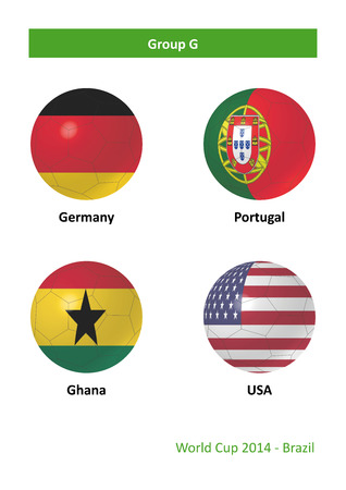 3D soccer balls with group G country flags