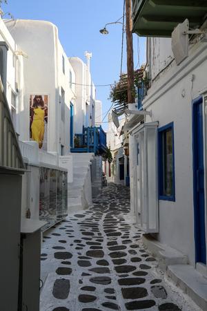 The narrow streets of Mykonos in Greece photo