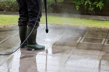 Outdoor floor cleaning with high pressure water jet Stok Fotoğraf - 32554076