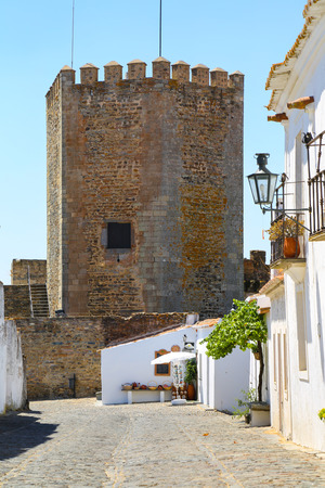 The Medieval Fortress of Monsaraz with the typical white narrow streets