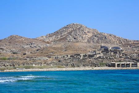 デロス島: ギリシャの重要な考古学的なサイト 写真素材