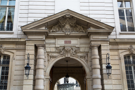 The entrance of the Elysee Palace, the official residence of the President of the French Republic