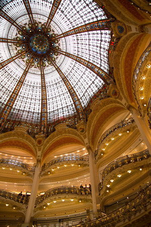 lafayette: The glass and steel dome of the Galeries Lafayette in Paris