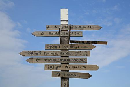 テクセルのビーチでの標識塔 写真素材